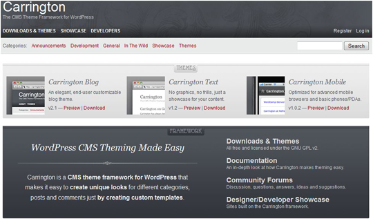 carrington1 Top 10 Preferred WordPress Theme Development Frameworks
