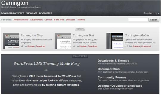 carrington1 Top 10 Preferred WordPress Theme Development Frameworks