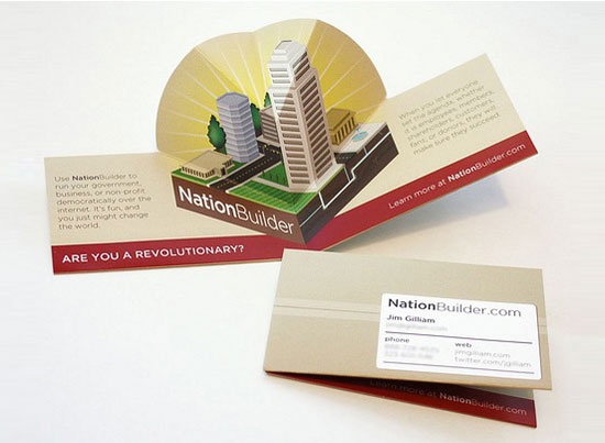 nation builder pop up l1 55 Unusual Yet Creative Business Card Designs