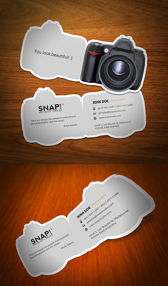 snap business card l1 55 Unusual Yet Creative Business Card Designs