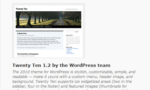 twenty ten theme 10 Things To Do After Installing Wordpress