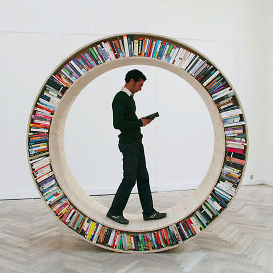 circular walking bookshelf by david garcia - Weird Bookshelves
