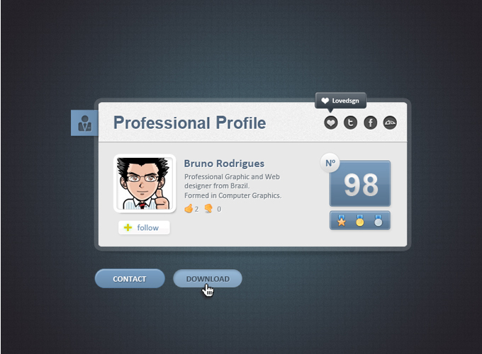 profe profile11 60 Stunning Pixel Perfect PSD Freebies #2