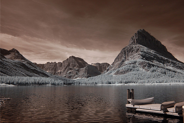 swiftcurrent lake and boat dock 45 Impressive Examples of Infrared Photography