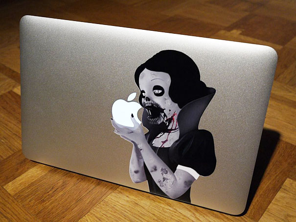 cool macbook stickers princess eating apple1 50+ Creative Macbook Pro Decals From Etsy