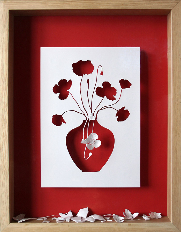 15 broken flowers 11 25 Striking Framed Papercuts by Peter Callesen