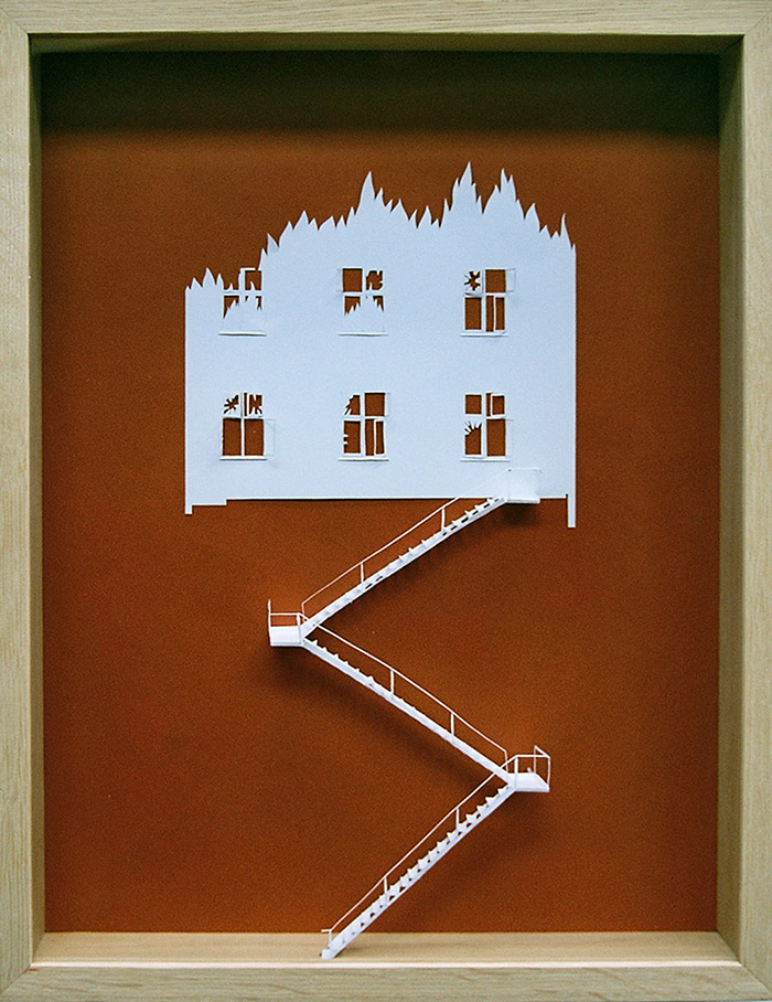 15 fire escape unable to escape fire 11 25 Striking Framed Papercuts by Peter Callesen