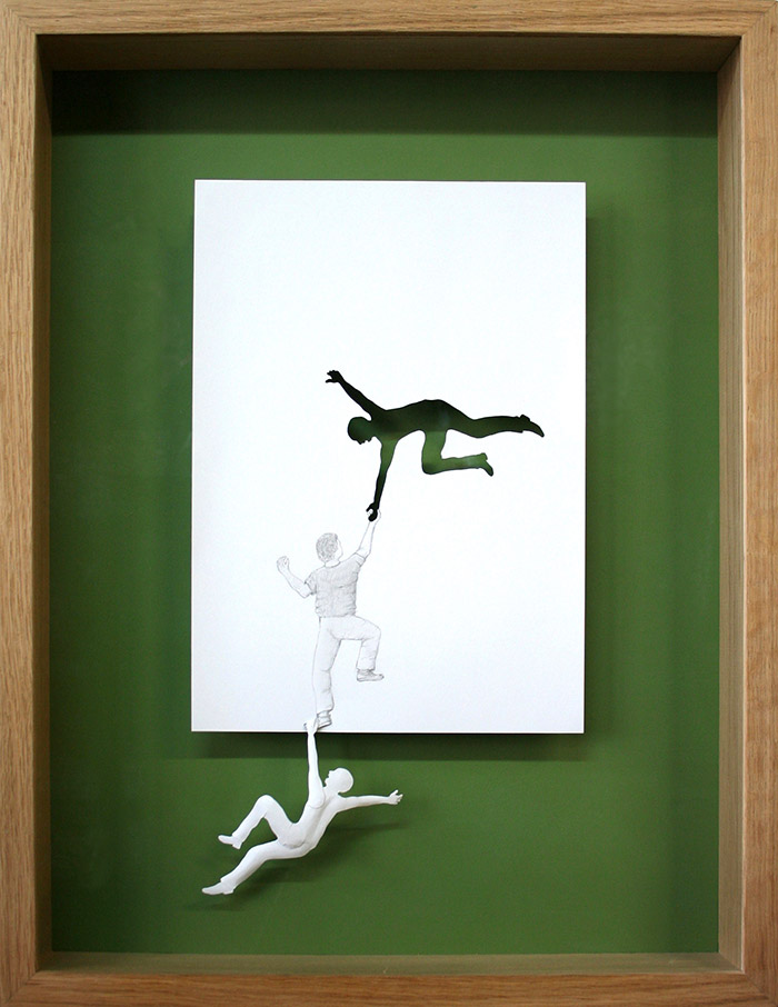 15 saving himself 11 25 Striking Framed Papercuts by Peter Callesen