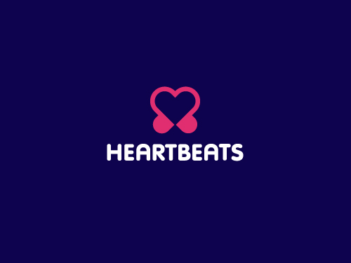 heartbeats1 45 Heart and Love Logo Designs