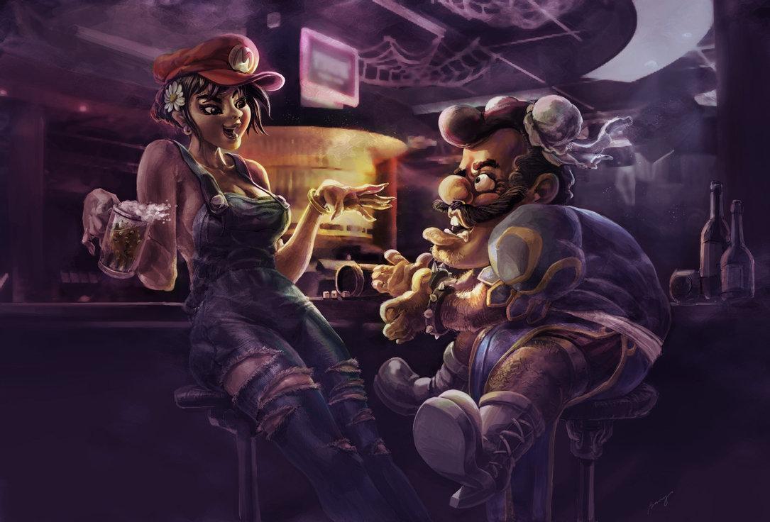 mario and chunli by benryyou1 50 Incredible Super Mario Bros Artworks