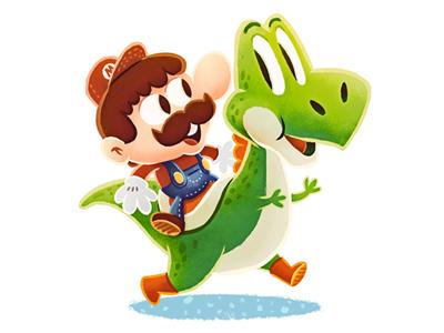 mario yoshi1 50 Incredible Super Mario Bros Artworks