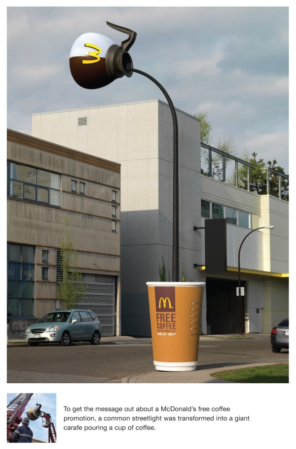 mcd coffee lamppost1 35 Creative McDonalds Corp Advertising Practices