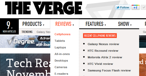 the verge 30 Stunning Examples of Drop Down Menu Design