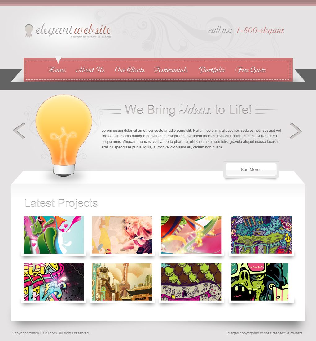 elegant website11 30 Detailed Photoshop Website Design Tutorials
