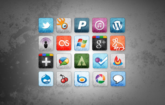 free stained and faded social media icons vol 2 30 Gorgeous Freebies from Wegraphics