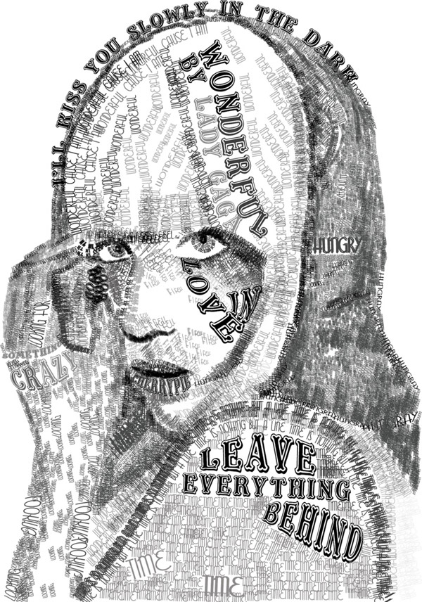 lady gaga typography by skye shettle 10 Beautiful Human Portrait Typography Designs