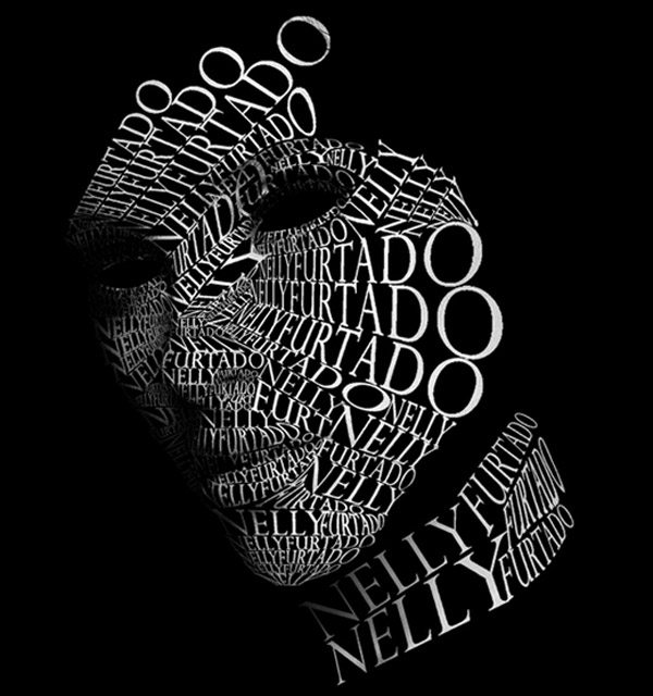nelly furtado 10 Beautiful Human Portrait Typography Designs