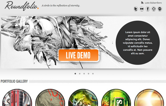 roundfolio a free portfolio template 30 Gorgeous Freebies from Wegraphics