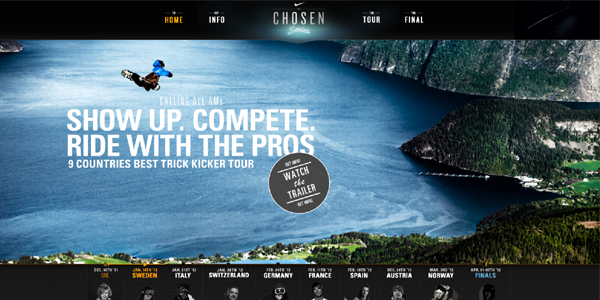 nike chosen series Showcase of E Commerce/Sport Website Designs