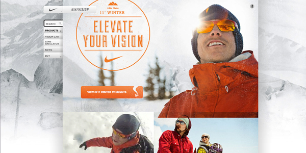 nike vision winter 2011 Showcase of E Commerce/Sport Website Designs