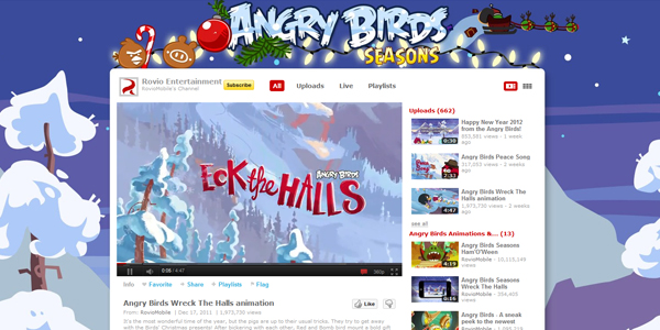 rovio 30 Professionally Designed Youtube Channels