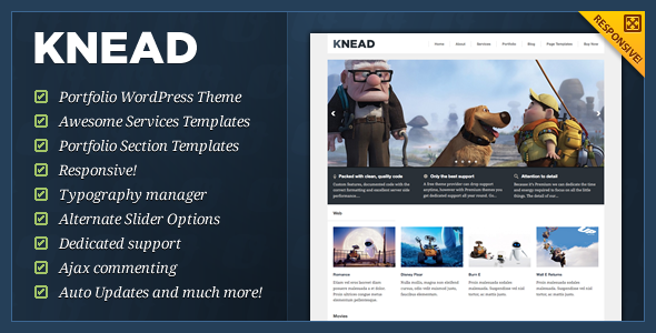 01 knead banner   large preview1 40 Premium Responsive Portfolio WordPress Themes