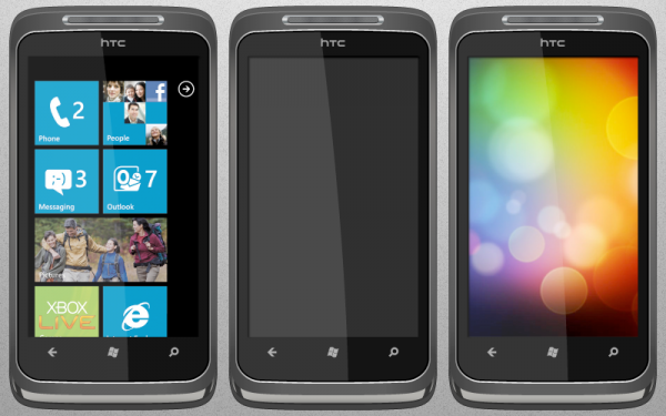 13 htc surround psd 600x3751 20+ Free Windows Phone 7 Mockup and Wireframing Resources