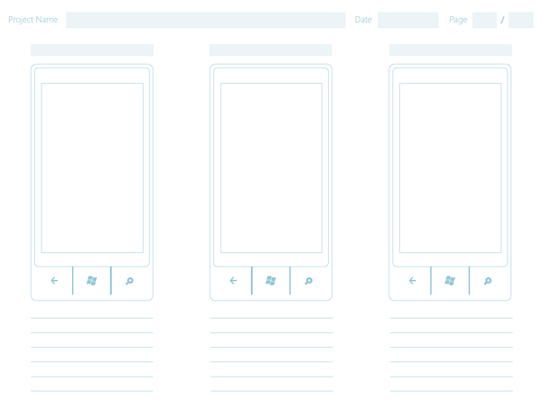 2 windows phone 7 wireframe paper sketch template1 20+ Free Windows Phone 7 Mockup and Wireframing Resources