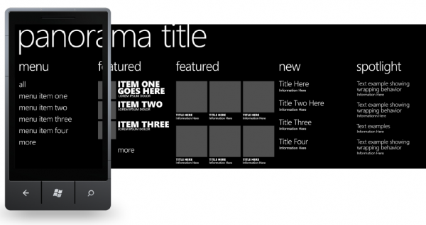 6 design templates for windows phone 7 600x3181 20+ Free Windows Phone 7 Mockup and Wireframing Resources