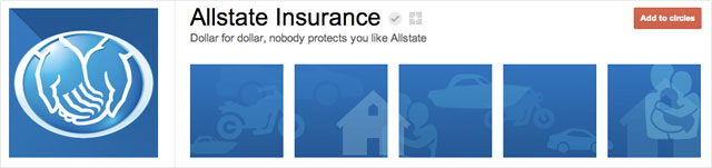 allstate insurance1 25 Great Examples of Google Plus Brand Pages
