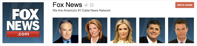 fox news1 25 Great Examples of Google Plus Brand Pages