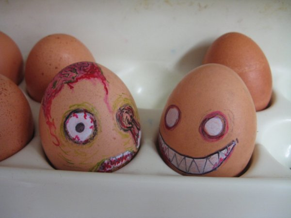 monstrous pals by ainekatt1 30 Examples of Funny and Creative Egg Photography