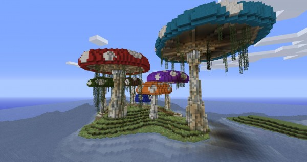 mushroom island 600x3181 40 Outstanding Minecraft Creations