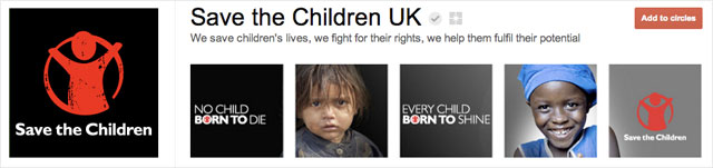 save the children uk1 25 Great Examples of Google Plus Brand Pages