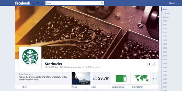 starbucks New Facebook Timeline for Brands: Rookie to Pro Guide