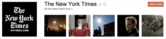 the new york times1 25 Great Examples of Google Plus Brand Pages