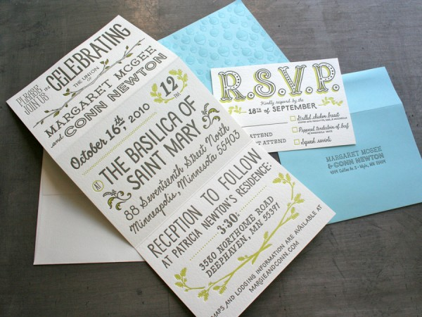 0004 maggie conn letterpress wedding invitation trifold open 600x4501 30 Uniquely Designed Wedding Invitations