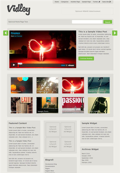 10 vidley video wordpress themes 4 Top 15 Video Themes For Wordpress