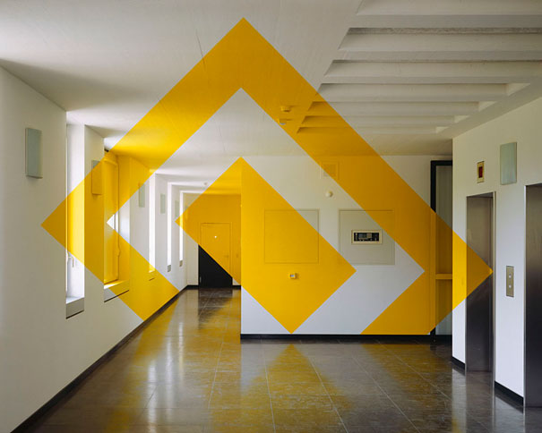 anamorphic illusions by felice varini 1 Breathtaking Anamorphic Illusions by Felice Varini