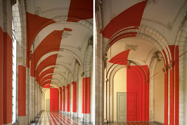 anamorphic illusions by felice varini 34 Breathtaking Anamorphic Illusions by Felice Varini