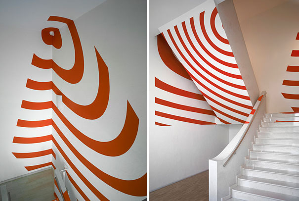 anamorphic illusions by felice varini 38 Breathtaking Anamorphic Illusions by Felice Varini