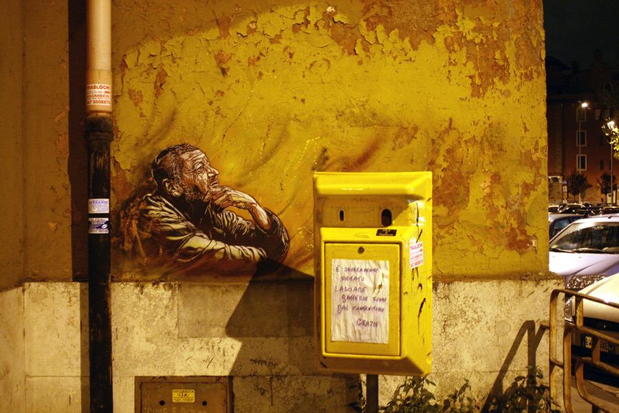 c215 jessica stewart rome 1 u 1000 Graffiti Stencil Art by Street Artist C215