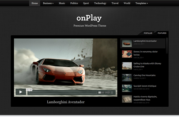 onplay Top 15 Video Themes For Wordpress
