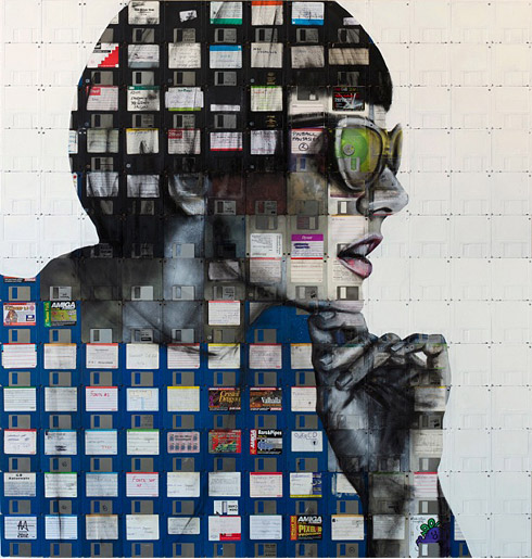 32b1 Floppy Disk Portraits by Nick Gentry