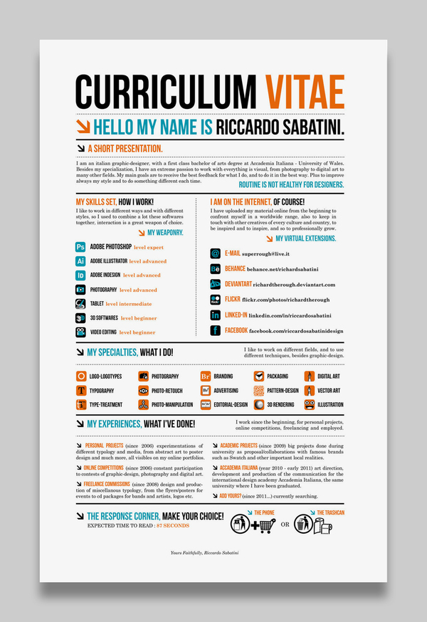 780ab7a5295e98955c7e8386be4975721 25 Examples of Creative Graphic Design Resumes