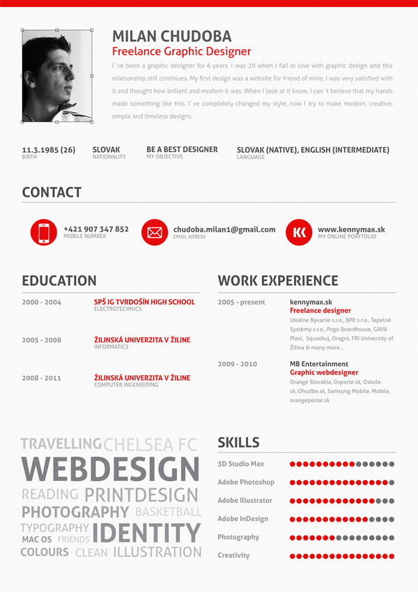 examples of creative graphic design resumes   inspirationfeedmilan chudoba cv