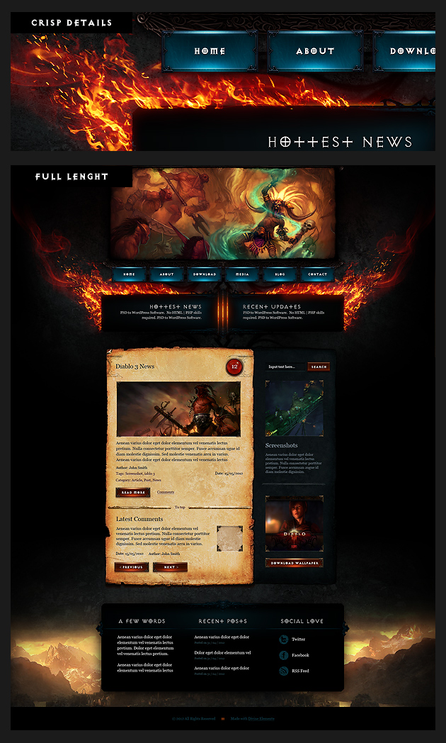 diablo 3 psd template Diablo 3 Free PSD Template For Your Blog