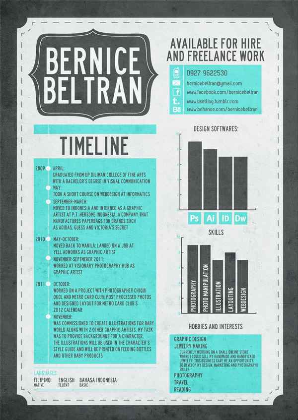 CV By Bernice Beltran  Creative Graphic Design Resumes