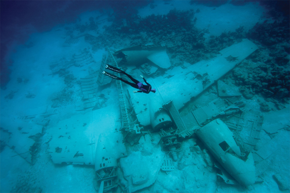 freediver over the airplane wreck in the bahamas1 25 Outstanding Examples of Machine Photography