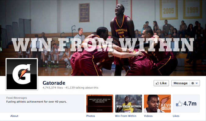 gatorade facebook page1 30 Creative Examples of Facebook Timeline Cover Designs #2